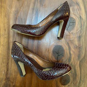 Banana Republic Brown Snake Alligator Print Heels